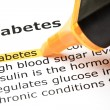'Diabetes' highlighted in orange - Stock Photo