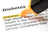 'Diabetes' highlighted in orange — Stock Photo