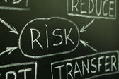 Risk management flow chart on a blackboard — Stock Photo