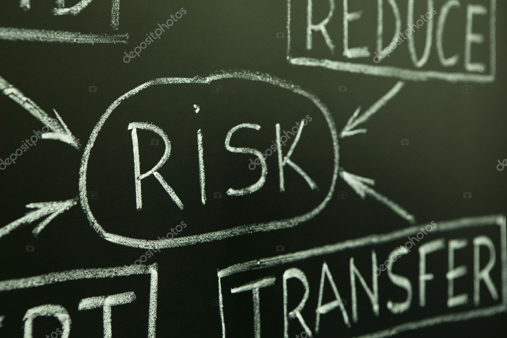 A close up of a risk management flow chart on a blackboard.  Stock Photo #6089499