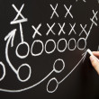 Hand drawing a game strategy — Stock Photo