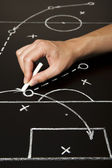 Hand drawing a soccer game strategy — Stock Photo