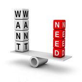 Bedürfnisse und wünsche — Stockfoto