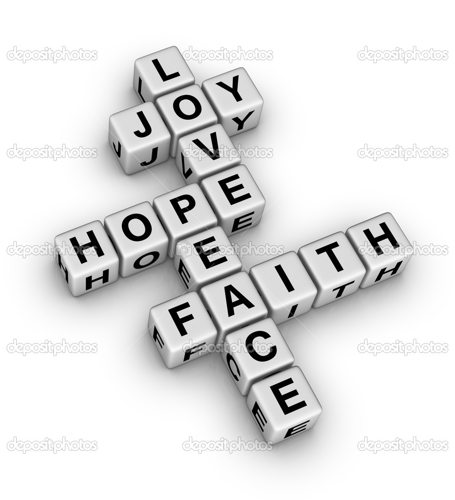 Joy, Love, Hope, Peace and Faith (crossword puzzle reminder of the important things in Life) — Стоковая фотография #5530379