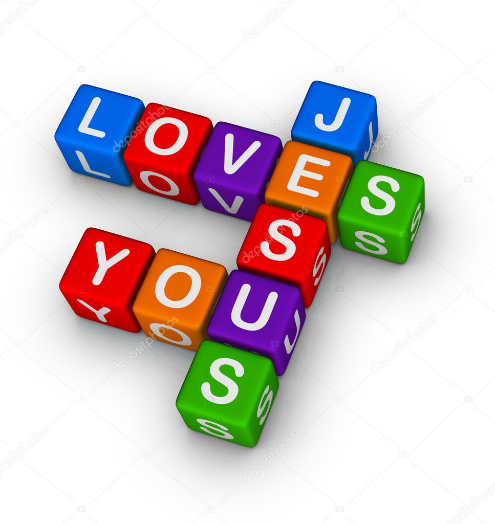 Jesus loves you multicolor symbol — Stock Photo #5530392
