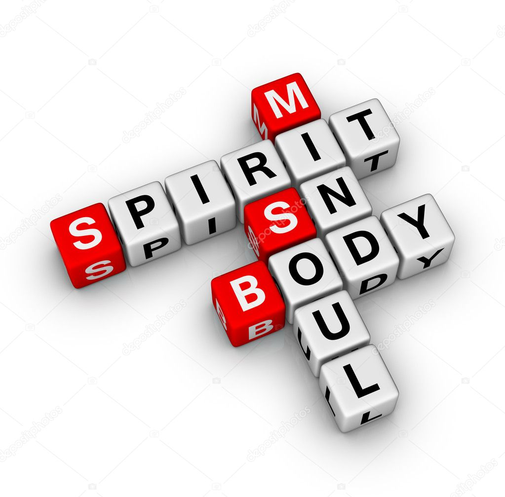 Spirit, soul, mind, body crossword — Zdjęcie stockowe #5530394