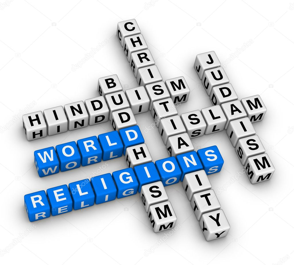 Major world religions - Christianity, Islam, Judaism, Buddhism and Hinduism — Stock Photo #5850446