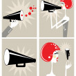 Loudspeaker and megaphone - Stock Photo