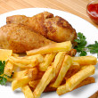 Stock Photo: Fried chicken with potato