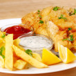 Fried fish and chips — Stock Photo