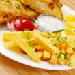 Fried fish and chips - Stock Photo