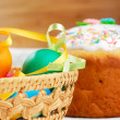 Easter bread and painted eggs — Stock Photo