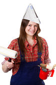 Craftswoman with paintbrushes — Stock Photo