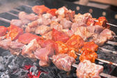 Shashlik cooking — Stock Photo