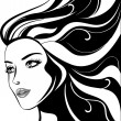 Glamour girl with black hairs — Imagen vectorial