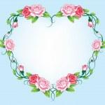 Heart roses border — Stock Vector
