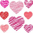 Abstract vector hearts set — Stock Vector