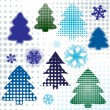 Abstract set christmas tree — Stock Vector