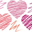 Abstract set hearts. chalk drawing — Imagens vectoriais em stock