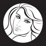 Beauty girl face. Art vector work illustration — Stock Vector