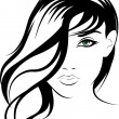 Beauty vector face girl portrait — Stock Vector