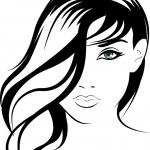 Beauty vector face girl portrait — Stock Vector