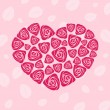 Valentine rose heart card — Stockvectorbeeld