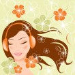 Stock Vector: Pretty girl with headphones. vector illustration
