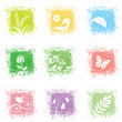 Royalty-Free Stock Vectorielle: Set spring leaves icons