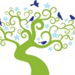 Abstract tree with birds.Vector illustration — Imagens vectoriais em stock