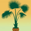 Green silhouette palm background — Imagen vectorial