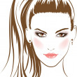 Face glamour girl with long hairs — Imagen vectorial