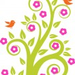 Abstract tree with birds. Vector illustration — Vector de stock
