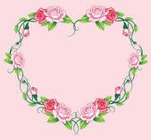 Heart roses border. art work — Stock Vector