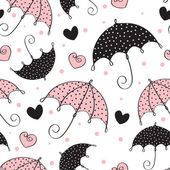 Abstract seamless background with umbrella and heart — 图库矢量图片