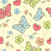 Seamless cute background with butterfly — Vector de stock