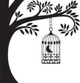Bird cage and tree — Stock Vector
