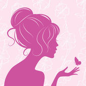 Beauty girl silhouette with butterfly — Stockvector