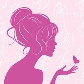 Skönhet flicka siluett med fjäril — Stockvektor