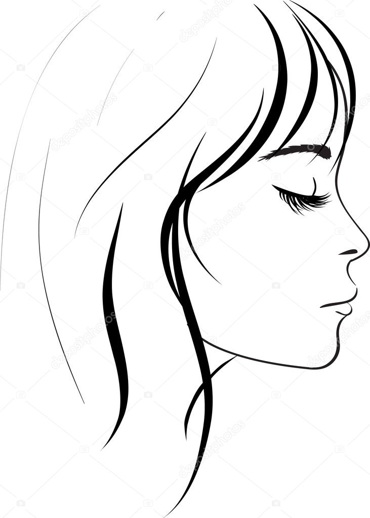 Line Drawing Face Clipart : Beauty girl face — stock vector colorvalley