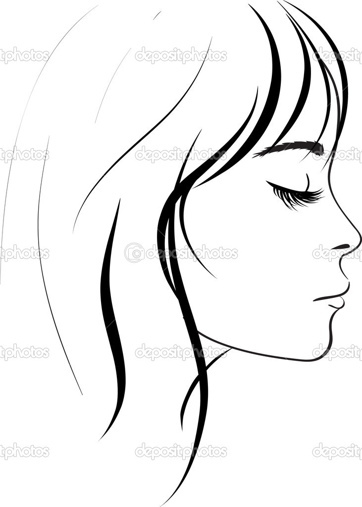 Line Drawing Faces : Beauty girl face — stock vector colorvalley