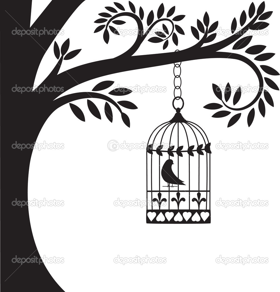 Bird cage hanging from branch. vector illustration — Stock Vector #5419654