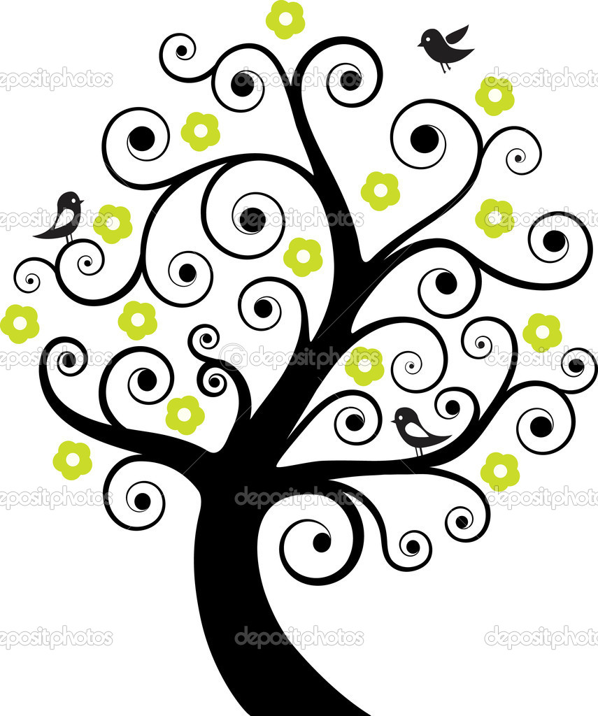 Abstract tree with birds - stock illustration