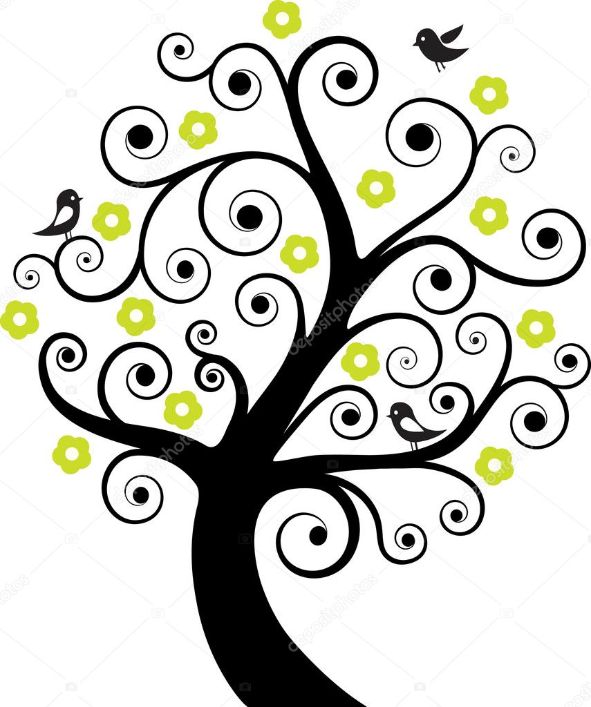Abstract tree with birds. Vector illustration — Imagens vectoriais em stock #5419709