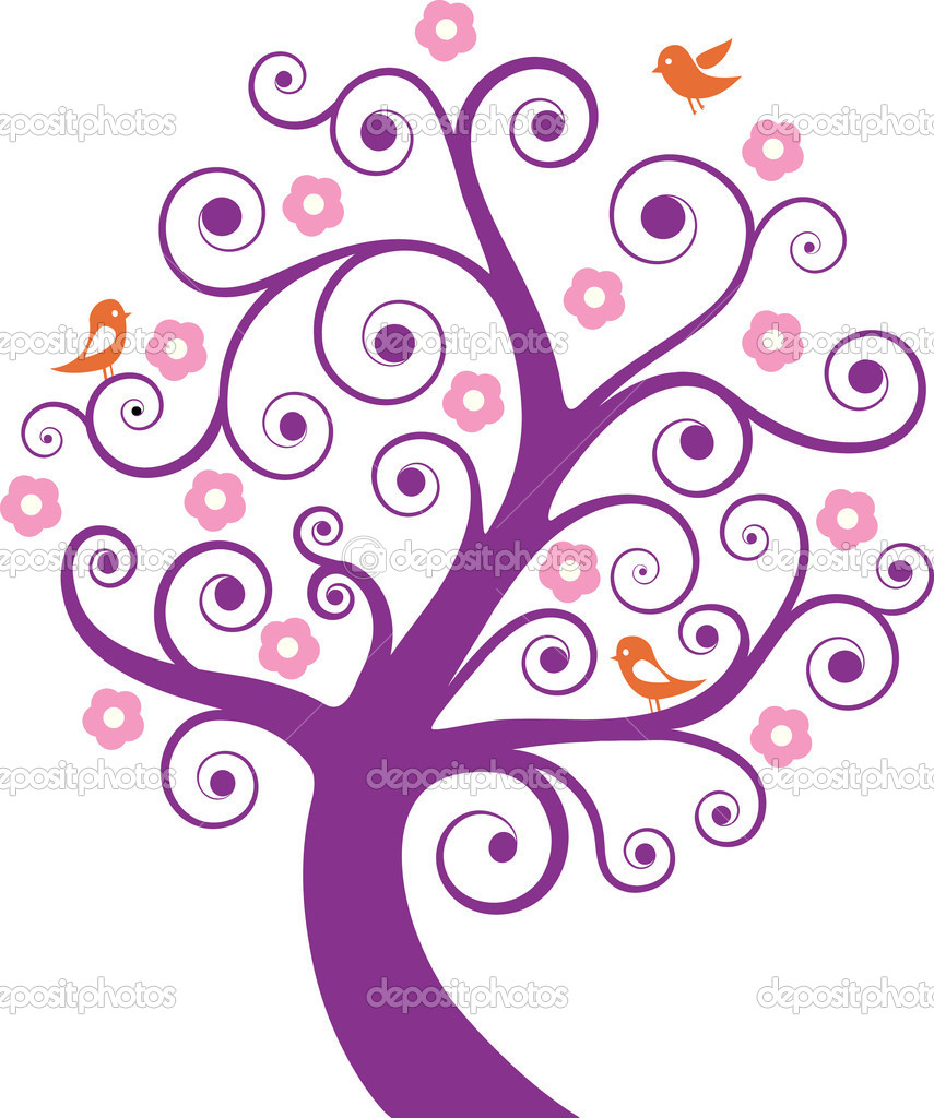 Abstract tree with birds. Vector illustration — Stock Vector #5419742