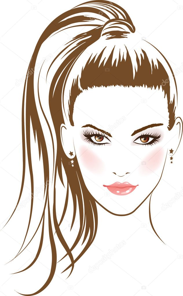 Face glamour girl with long hairs. Vector  Stock Vector #5419949
