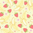Seamless background texture strawberry and banana — Stock Vector #5470987