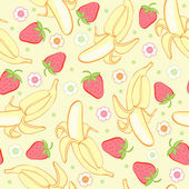 Seamless background texture strawberry and banana — Stock Vector