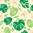 Stock Vector: Tropical seamless floral background