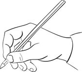 Man's hand holds a pencil. — Stock Vector